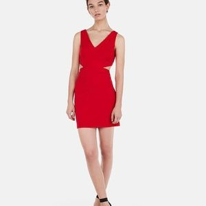 Express red mini dress with cutouts